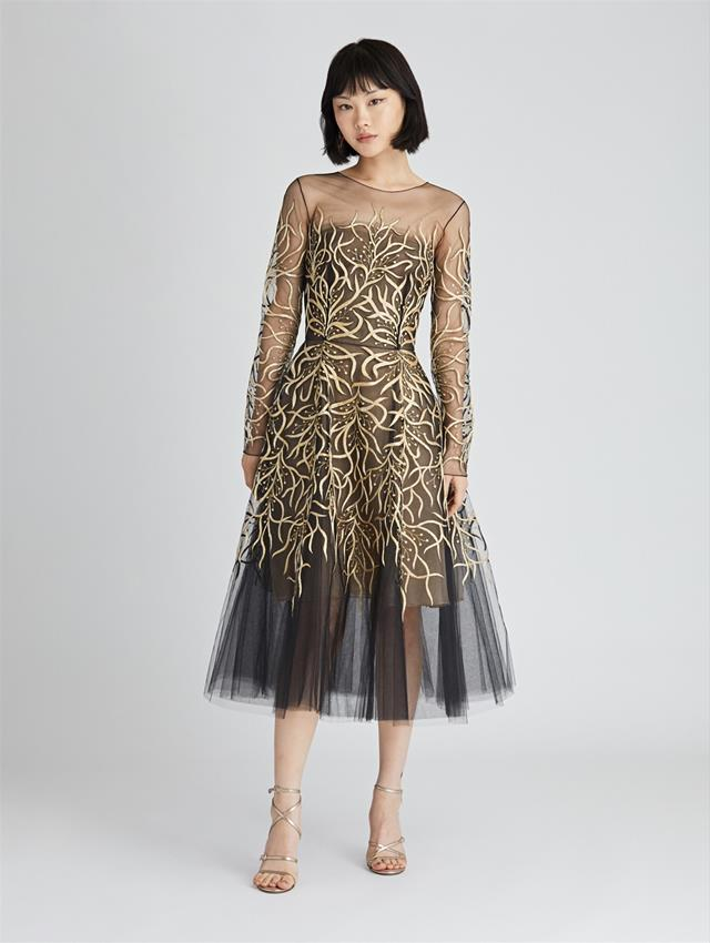 Fl Embroidered Tulle Tail Dress