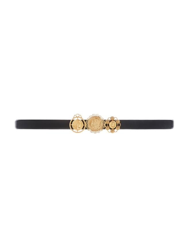 Coin Leather Belt  Gold