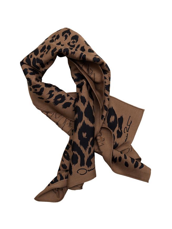 Leopard Wool-Blend Scarf  Camel