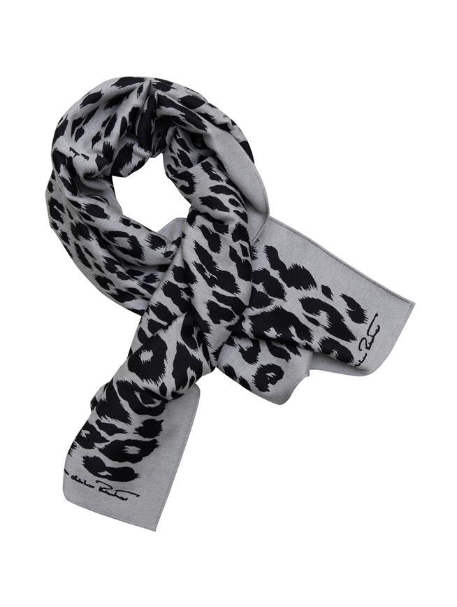 Leopard Wool-Blend Scarf  GREY