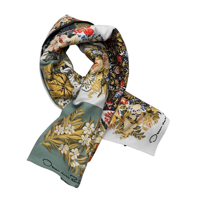 Patchwork Floral Wool-Blend Scarf  Ecru Multi