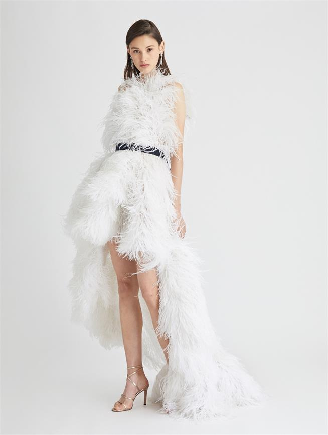 One Shoulder Feather and Tulle Gown Ivory