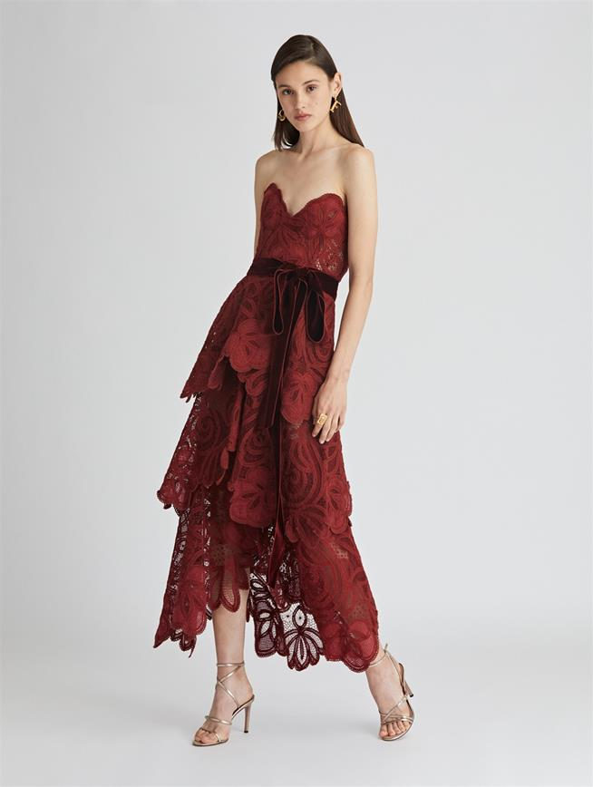 Tiered Lace and Tulle Gown  Claret