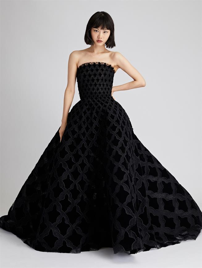 Arabesque Velvet and Tulle Gown  Black
