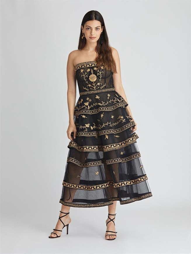 Embroidered Tiered Tulle Gown  Black/Gold