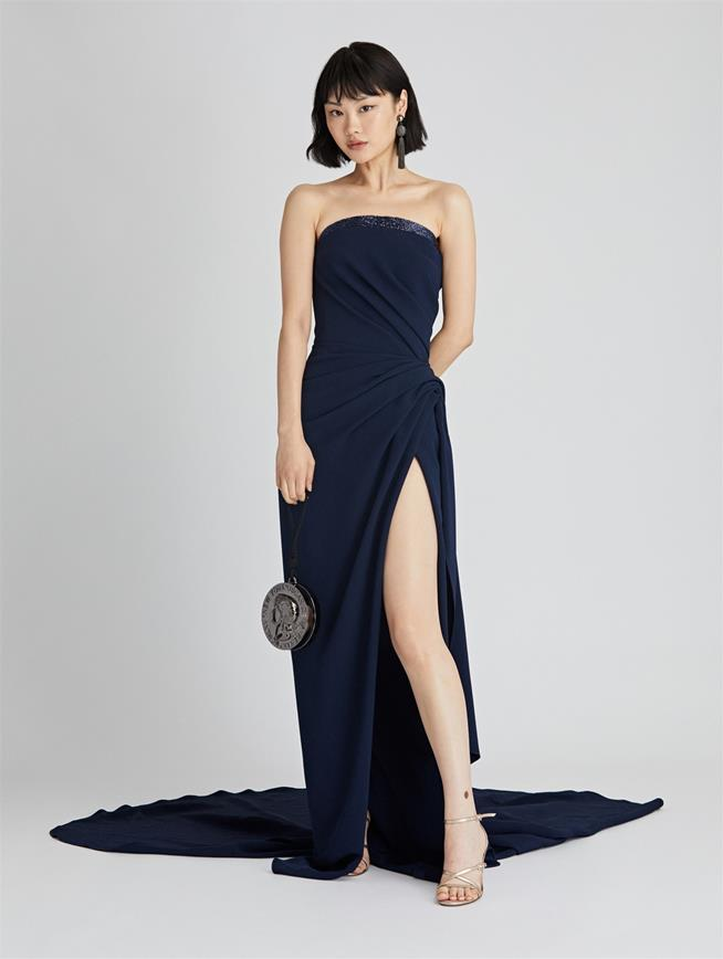 Draped Cady Pesante Gown  Navy