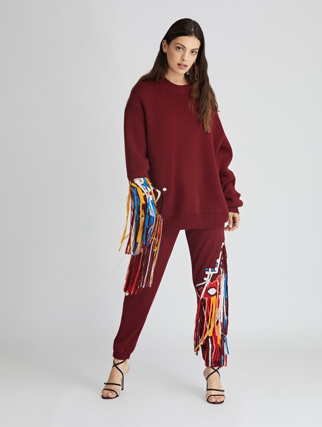 Embroidered Wool Pants  Claret