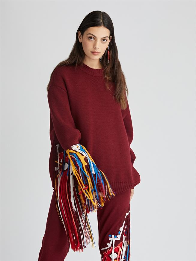 Asymmetric Embroidered Wool Pullover  Claret