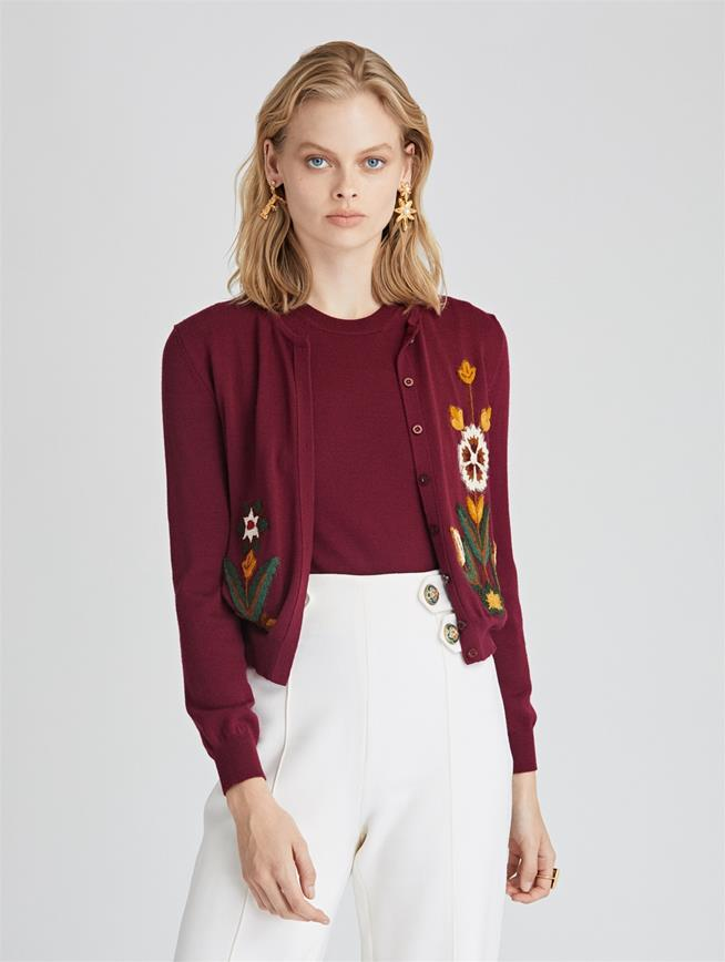 Flower Embroidered Wool Cardigan  Burgundy