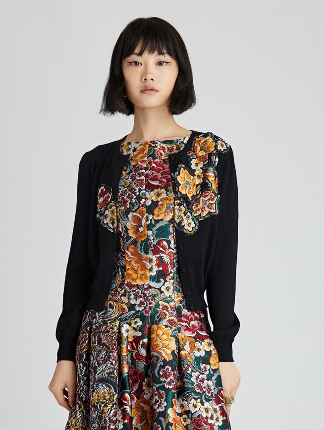 Floral Fil Coupé  Embroidered Cardigan  Black