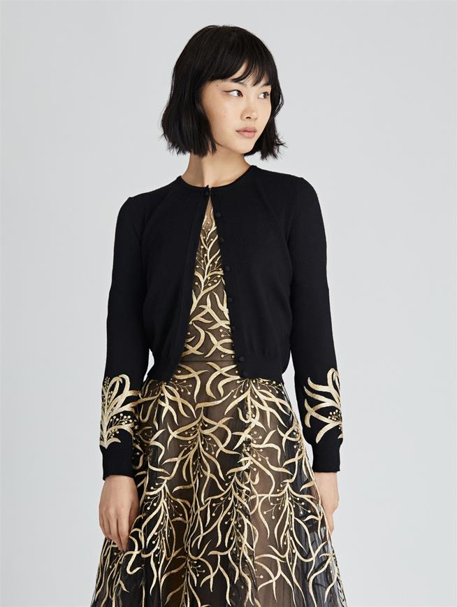 Mimosa Stems Embroidered Wool Cardigan  Black/Gold