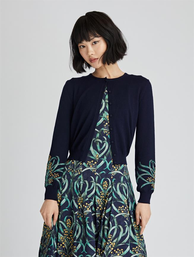 Mimosa Stems Embroidered Wool Cardigan  Navy