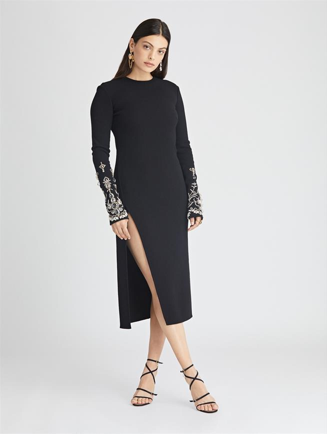 Embroidered Stretch-Wool Crepe Dress  Black/Gold