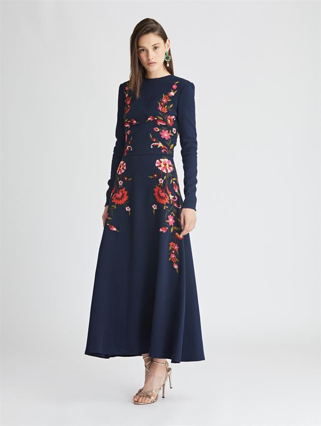 Embroidered Stretch-Wool Crepe Dress  Navy Multi