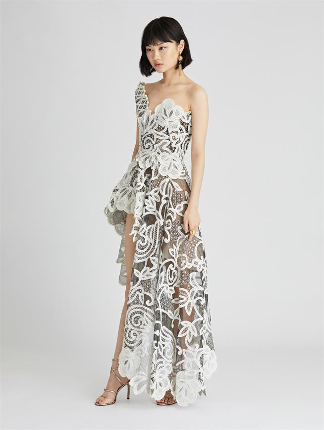 Lace Embroidered Tulle Cocktail Dress  Black/Ivory