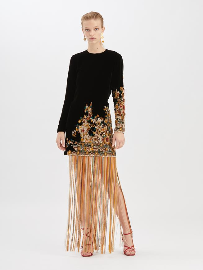 Embroidered Velvet Cocktail Dress  Black Multi