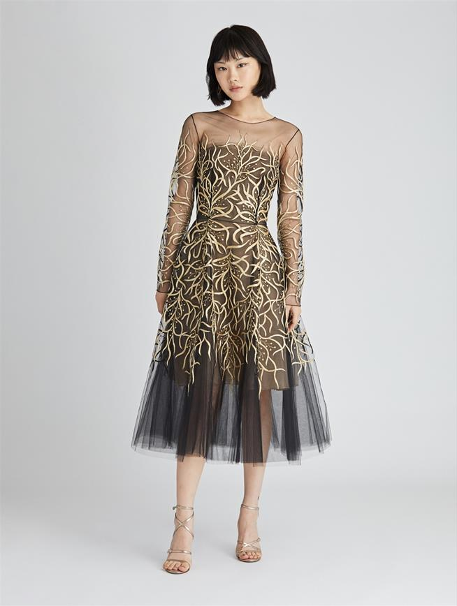 Floral Embroidered Tulle Cocktail Dress  Black/Gold