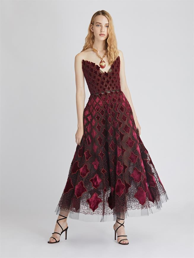 Arabesque Velvet and Tulle Cocktail Dress  Black/Claret
