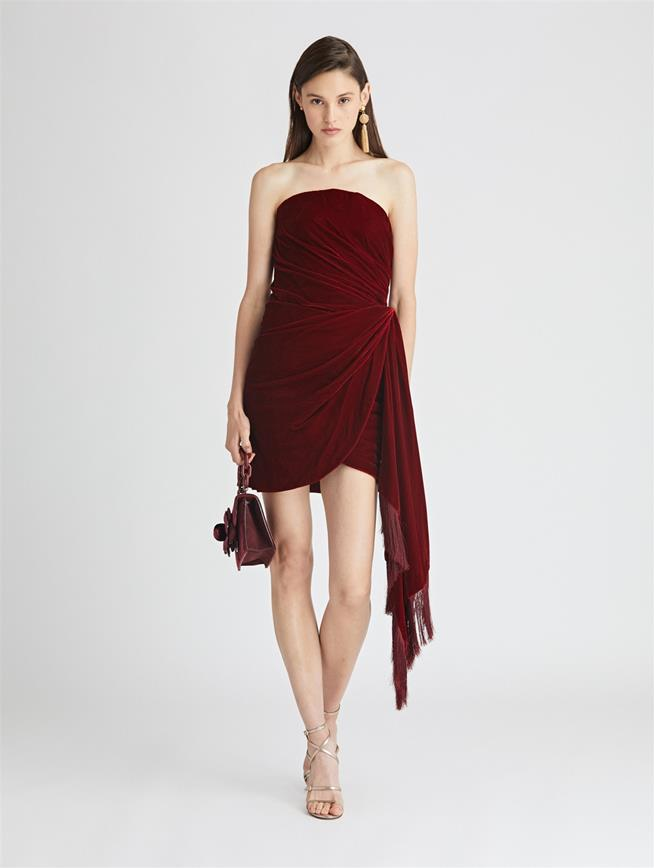 Draped Velvet Cocktail Dress  Claret
