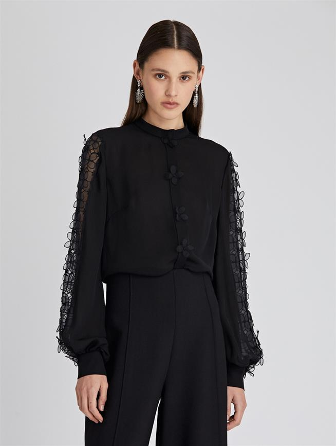 Appliqued Silk Georgette Blouse  Black