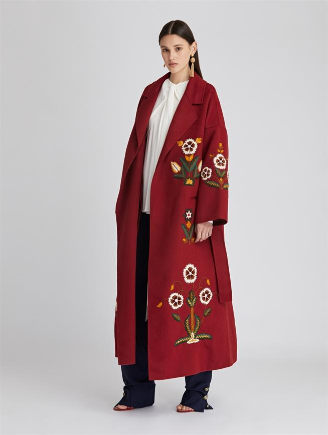 Embroidered Double Face Wool-Cashmere Coat  Claret Multi