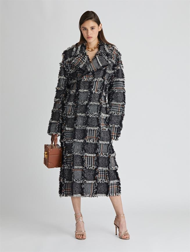 Herringbone Tweed and Boucle Coat  MULTI