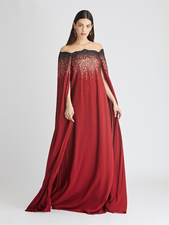 Sequin Embroidered Stretch-Crepe Sable Caftan Claret