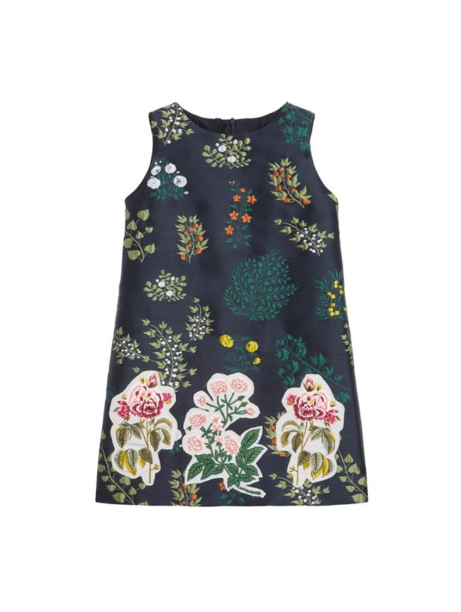 Embroidered Botanical Branches Jacquard Dress  Navy Multi