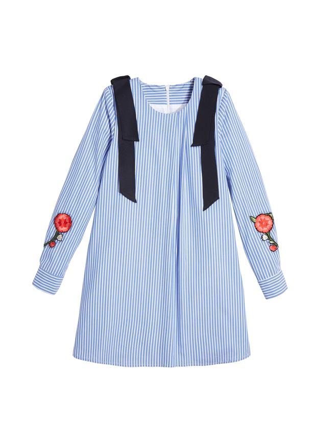 Embroidered Striped Cotton Dress  White/Blue