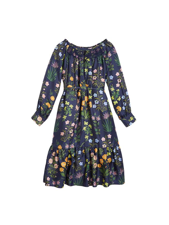 Embroidered Silk-Twill Dress  Navy Multi