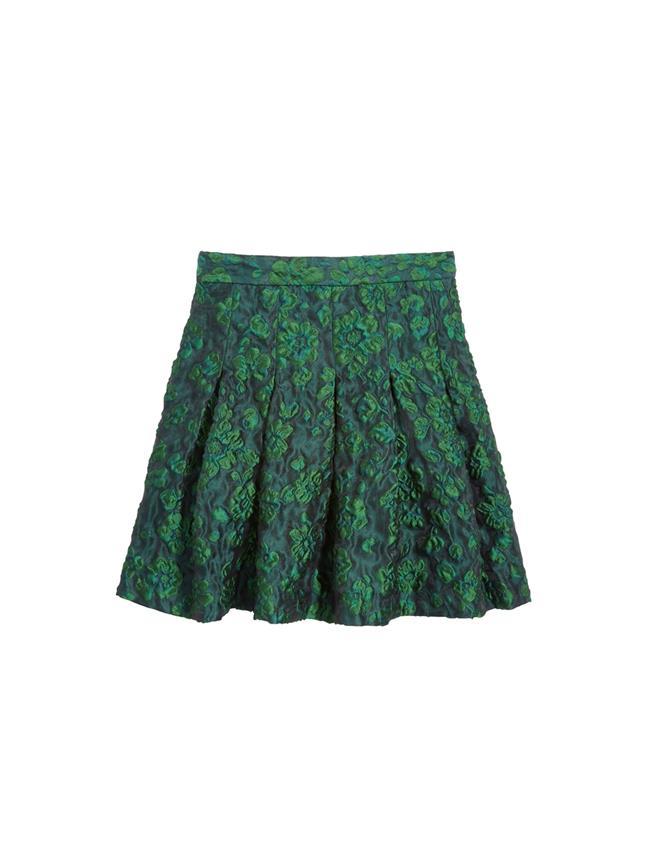 Jacquard Pleated Skirt  Evergreen