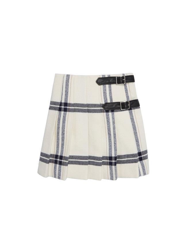 Wool Plaid Pleated Skirt  White Multi