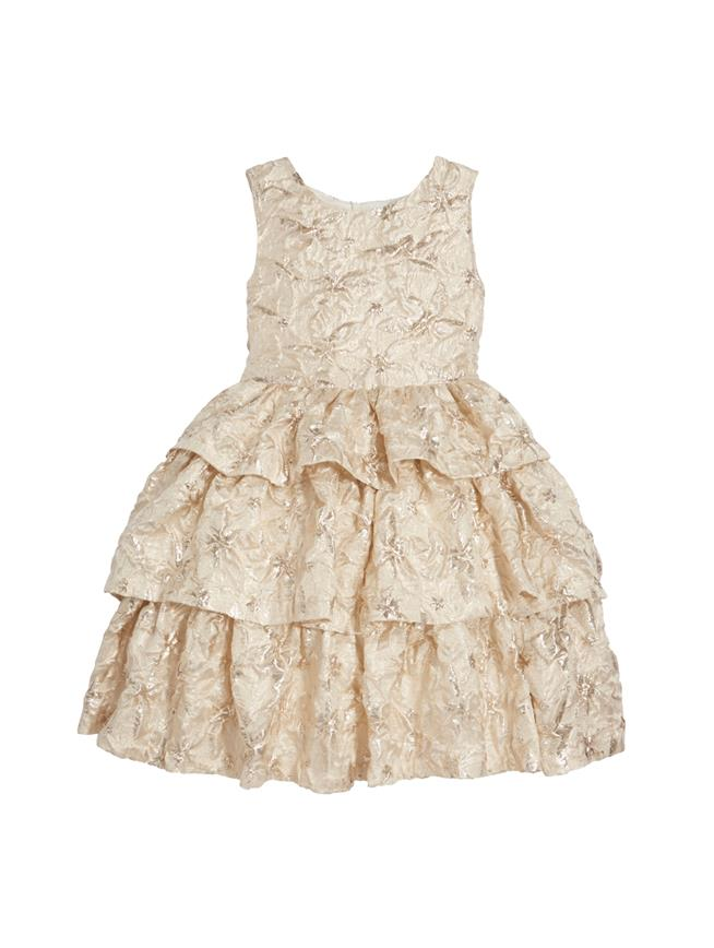 Tiered Metallic Jacquard Dress  Champagne