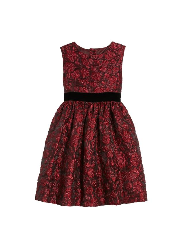 Flower Metallic Jacquard Dress  Red