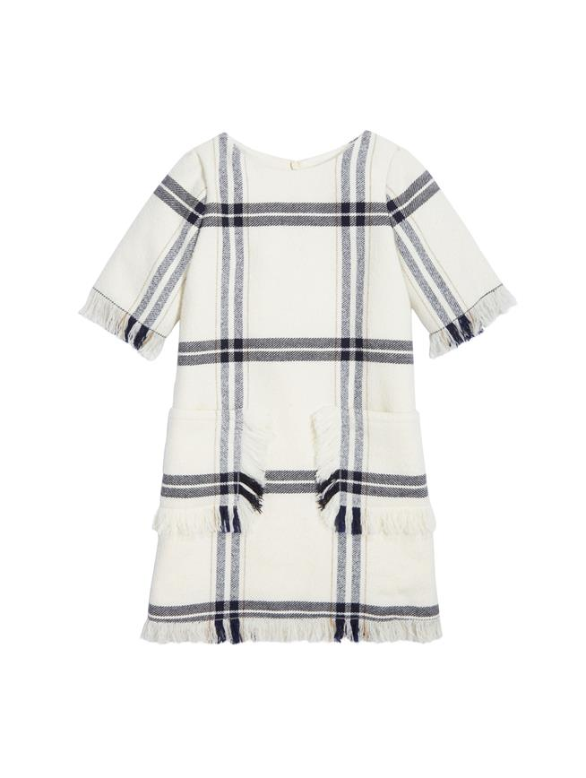 Fringed Wool Plaid Dress  Ivory Multi