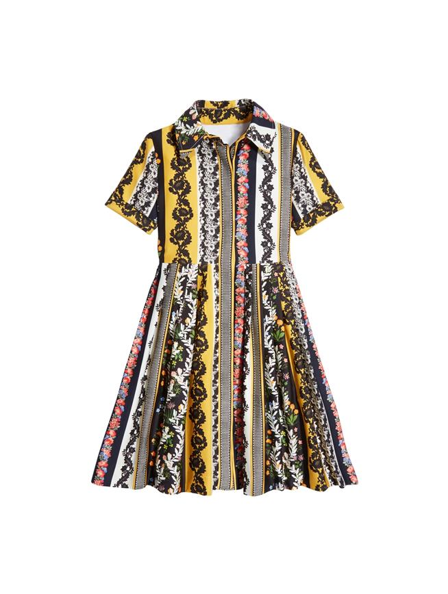 Vintage Patchwork Cotton Shirtdress  MULTI
