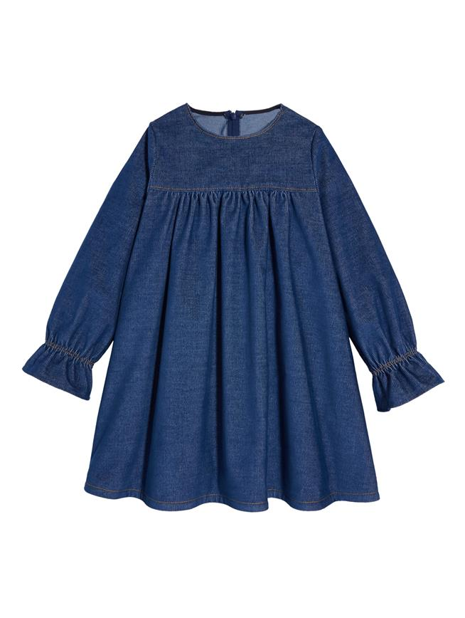 Denim Corduroy Dress  Indigo