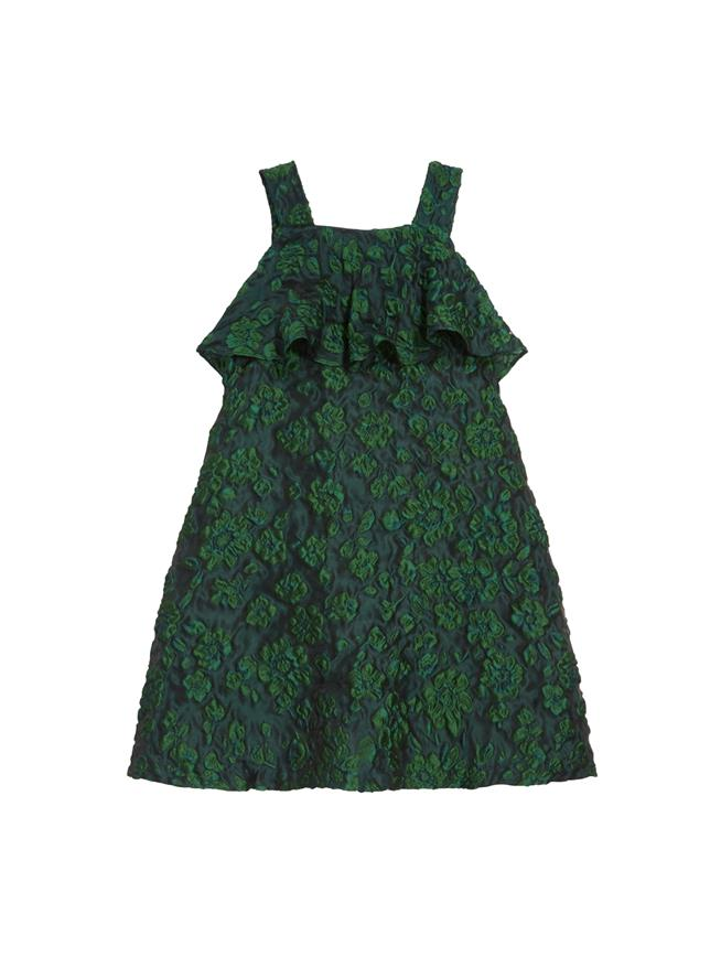 Floral Cloque Dress   Evergreen