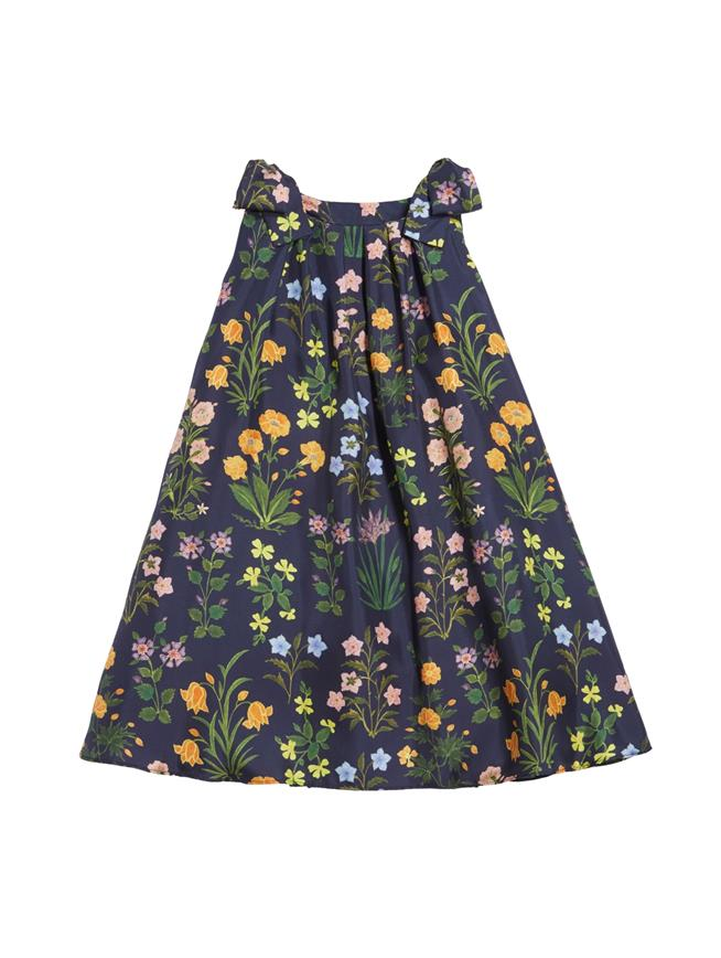 Flowers and Stems Silk-Twill Dress  Navy Multi