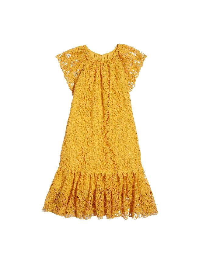 Floral Guipure Lace Drop-Waist Dress  Saffron