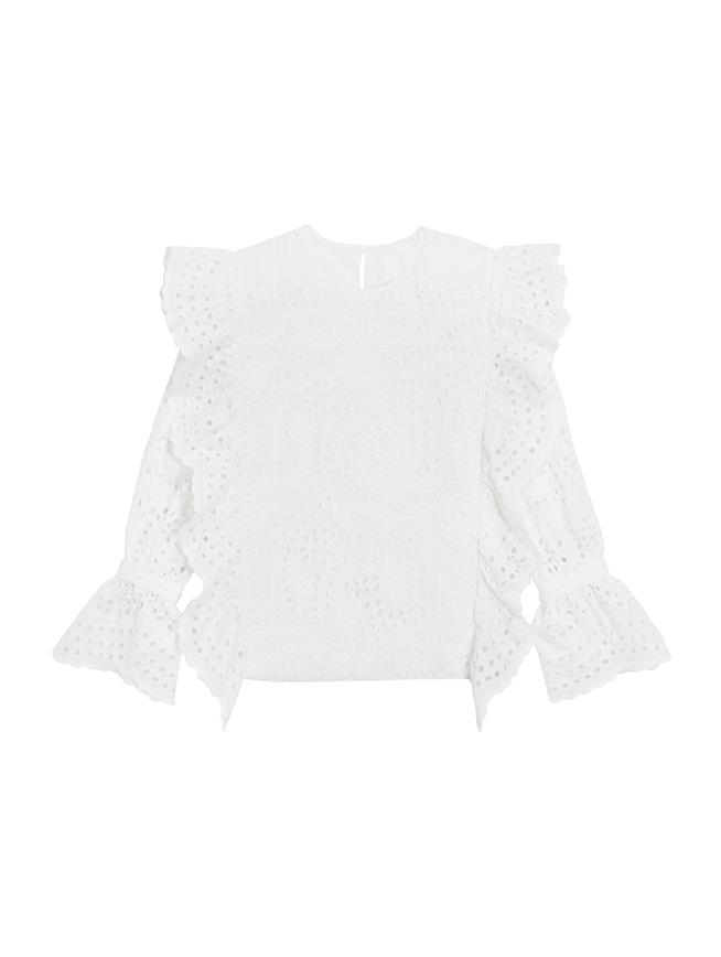 Ruffle Eyelet Cotton Blouse  White