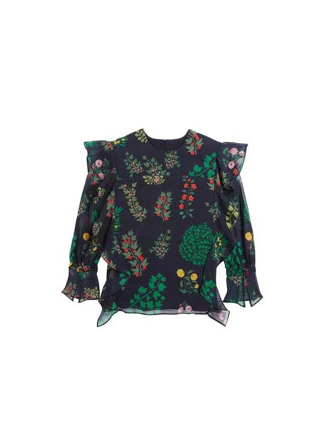 Ruffle Botanical Branch Chiffon Blouse  Navy Multi