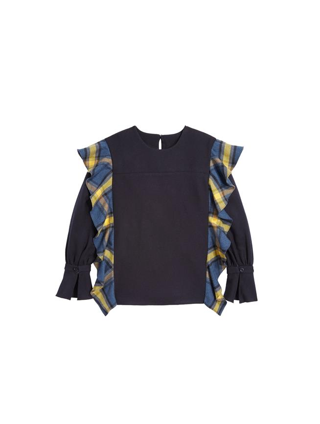 Ruffle Flannel and Twill Blouse  Navy