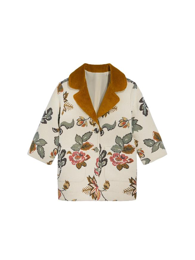 Floral Wool Jacquard Coat  MULTI