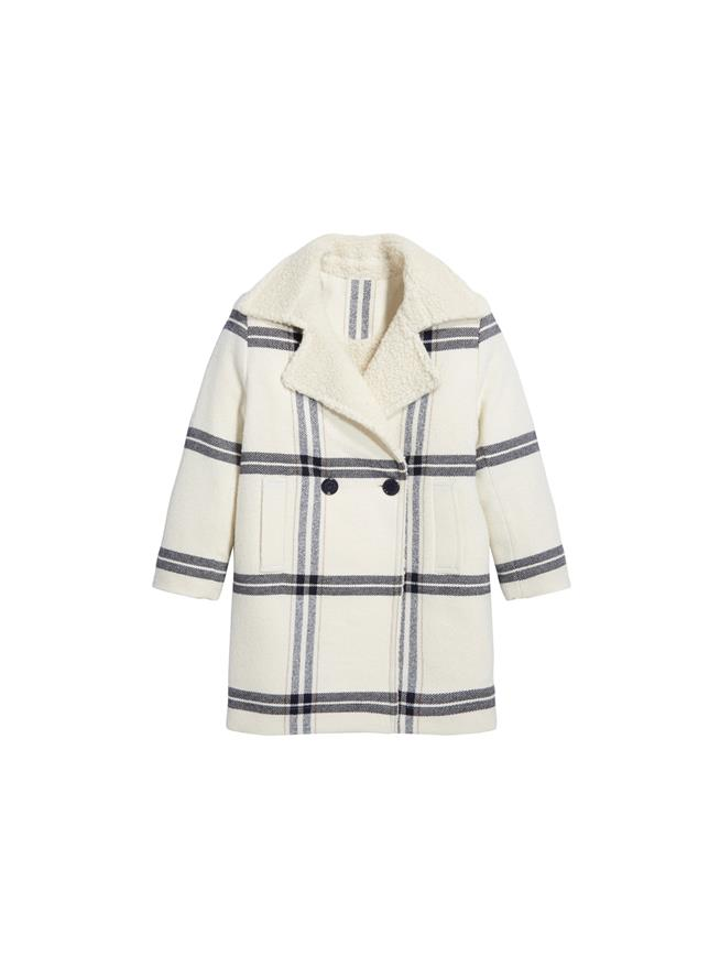 Wool Plaid Coat  Ivory Multi