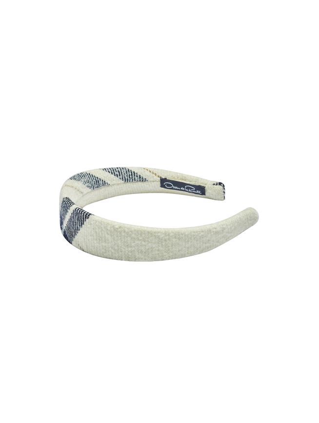 Wool Plaid Headband  Ivory Multi