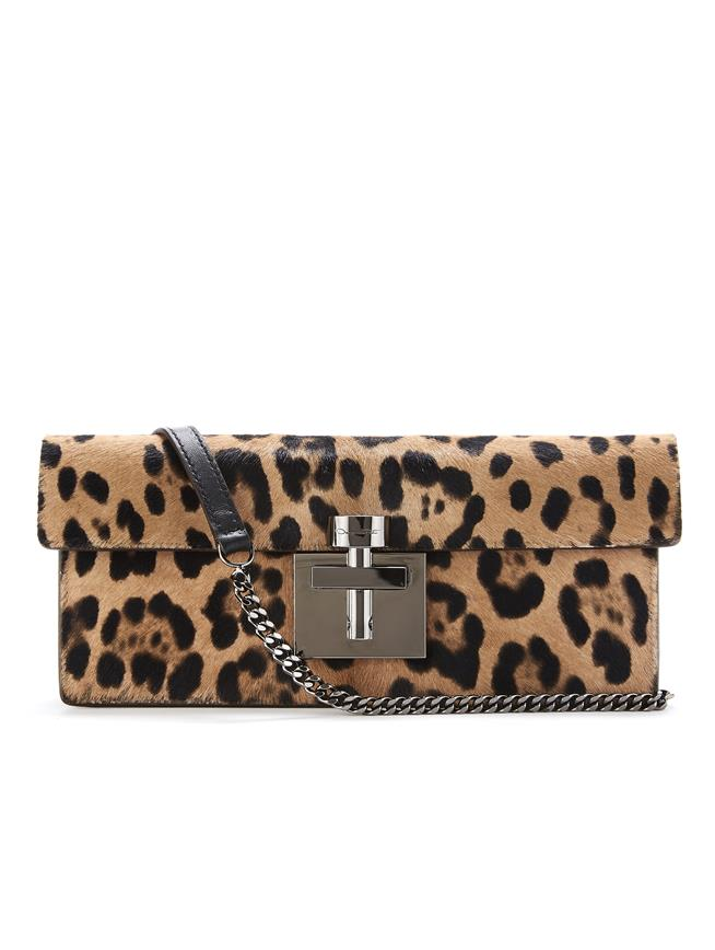 Leopard Calf Hair Alibi Clutch   Black/Camel