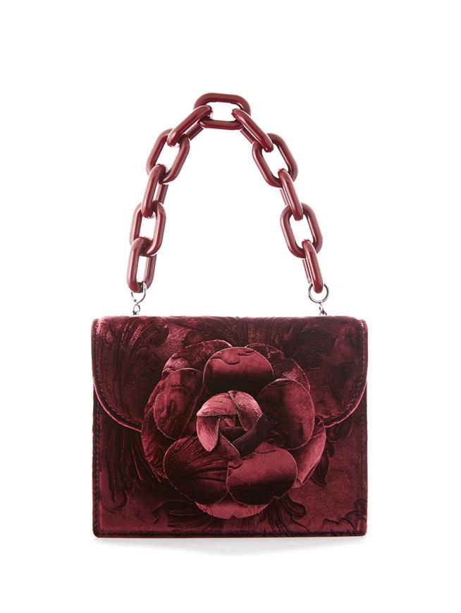 Embossed Velvet Mini TRO Bag  CRANBERRY