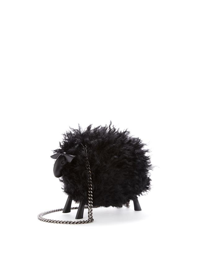 Juice the Sheep Shearling Bag   Black