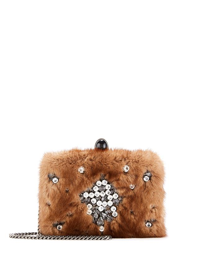 Embellished Mink Rogan Clutch  Natural